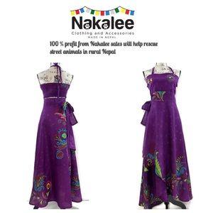 Boho Halter Wrap-Over Maxi Dress